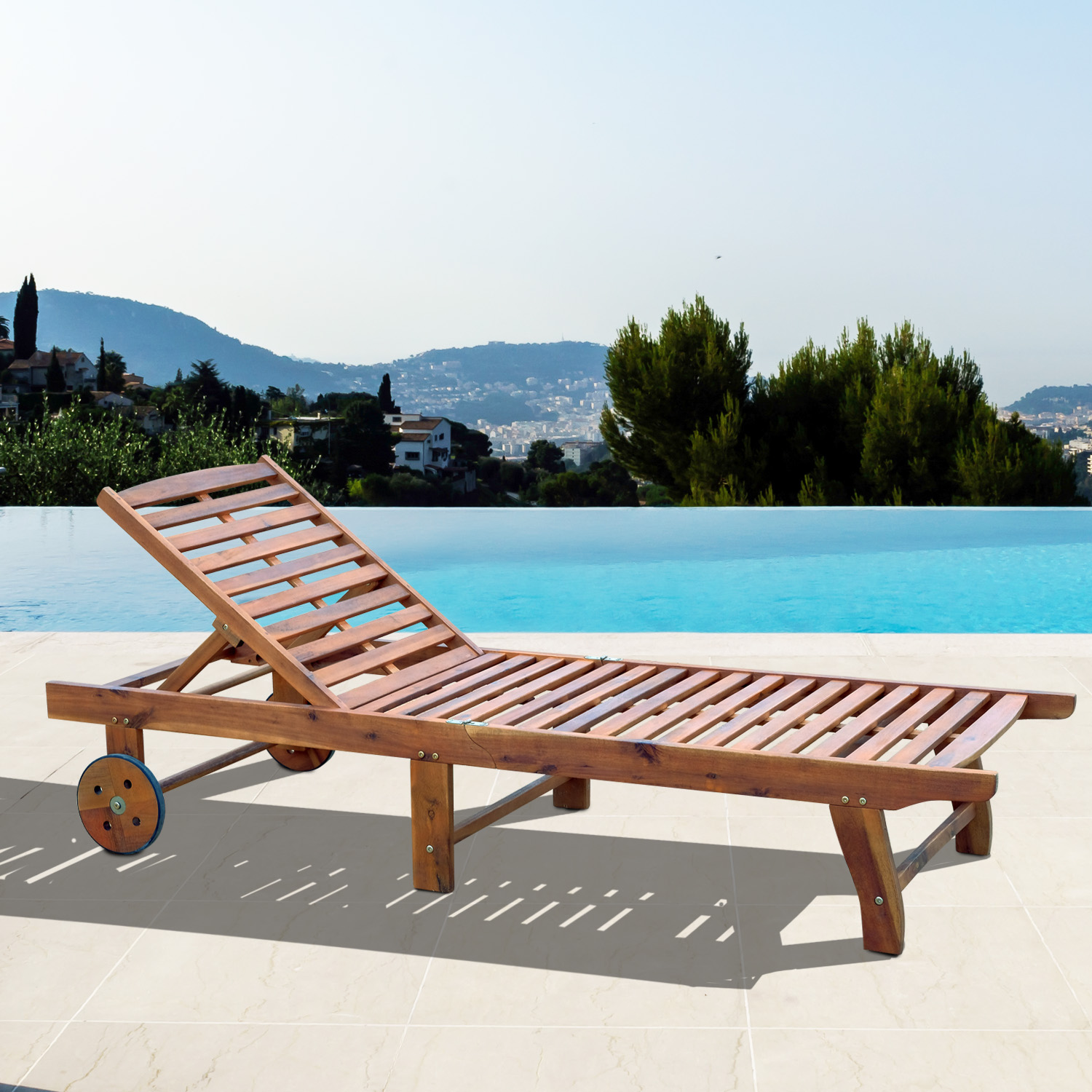 Teak Chaise Lounge Chairs Details About Outsunny Wooden Outdoor Folding Chaise Lounge Chair Recliner Poolside