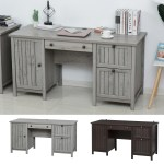 Homcom Vintage Executive Desk Home Office Station Student Table With Cabinet Ebay