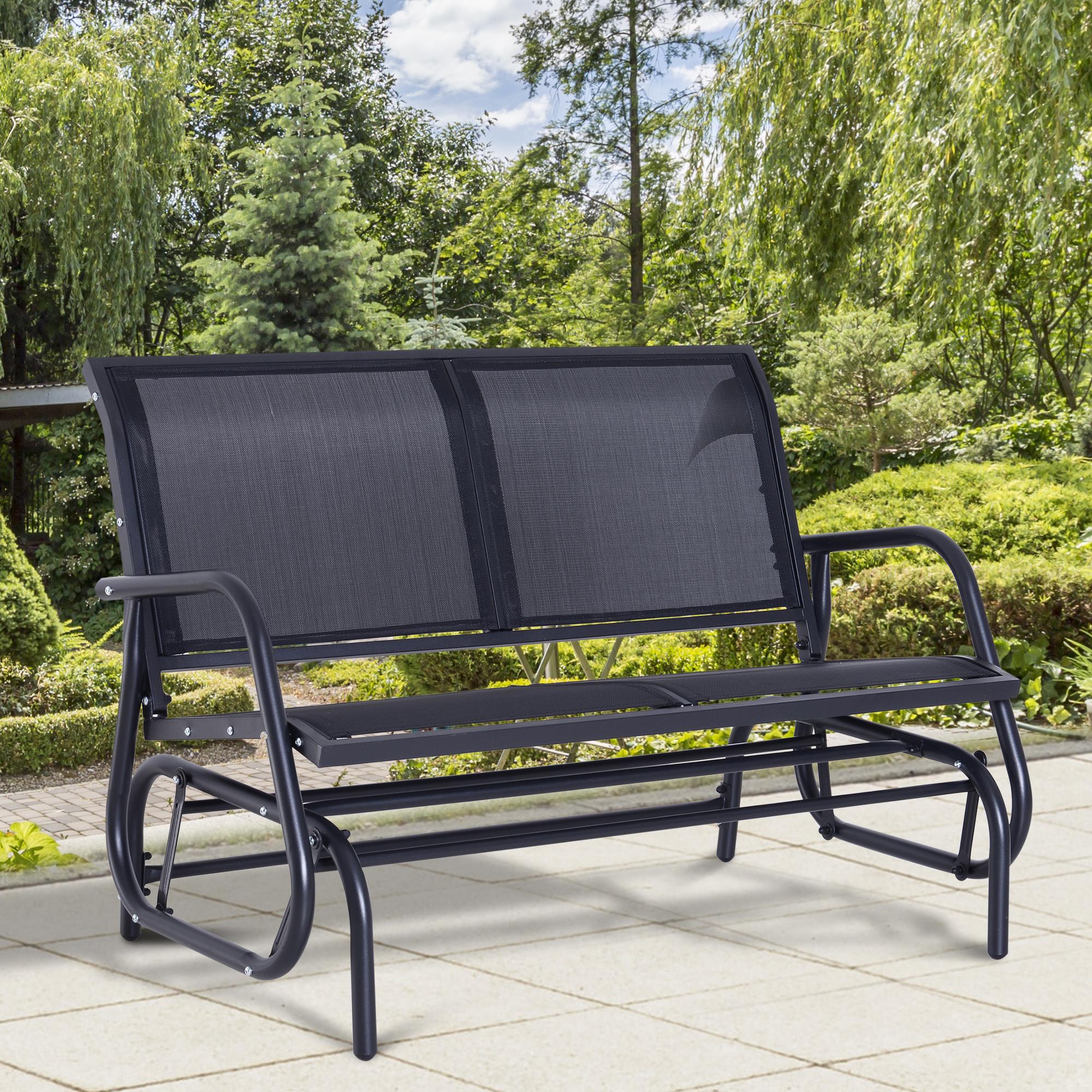 outsunny rattan glider rocking chair single seater rocker seat garden swing chair patio furniture wicker aluminum