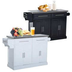 Modern Kitchen Cart Cheap Cabinet Hardware Mobile Storage Unit W 2 Drawers Details About Stainless Steel Top