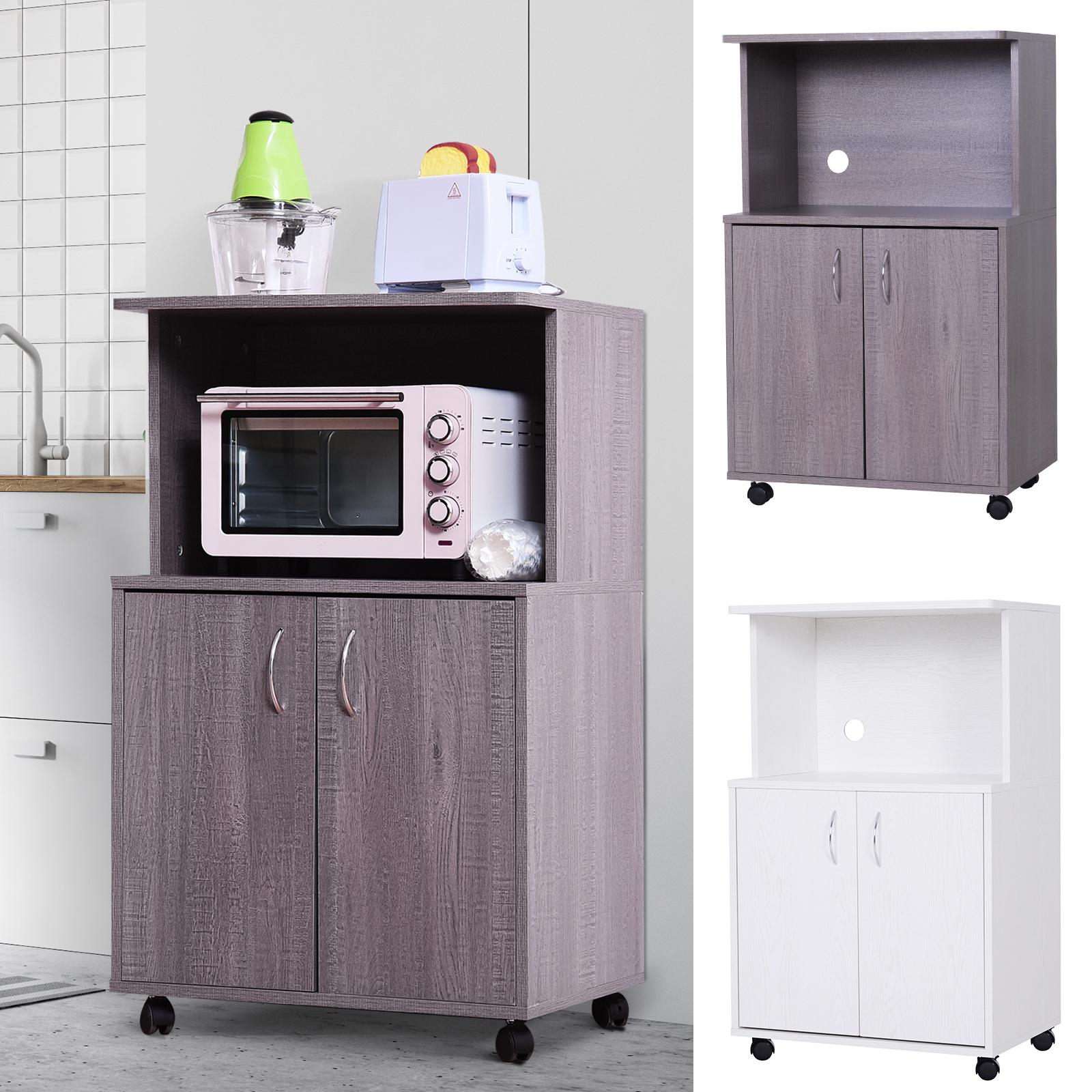 details about rolling kitchen trolley microwave cart 2 door cabinet storage shelves w wheels