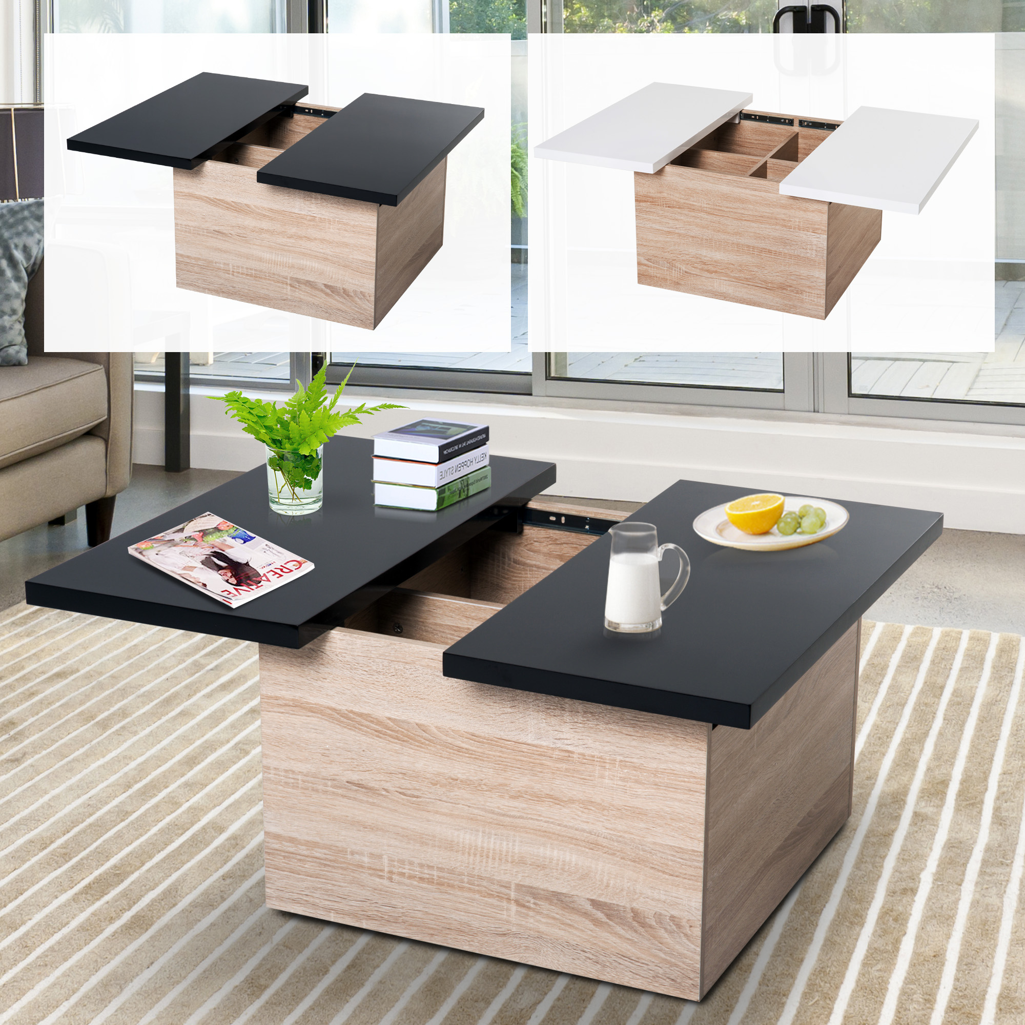 living room table with storage layout no coffee modern sliding top mdf chipboard details about