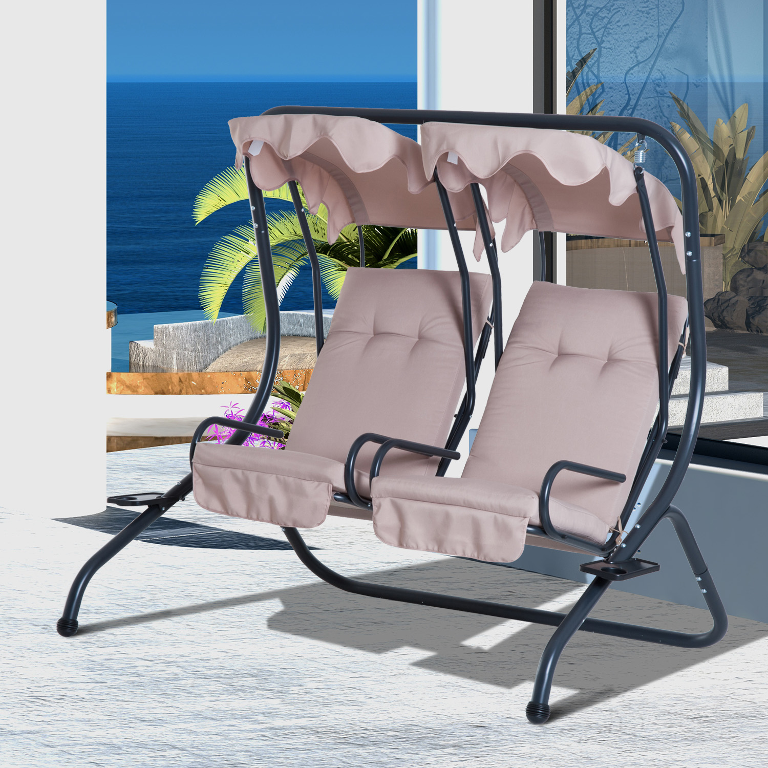 hanging patio swing chair big man recliner outdoor 2 person steel seat with canopy details about porch deck