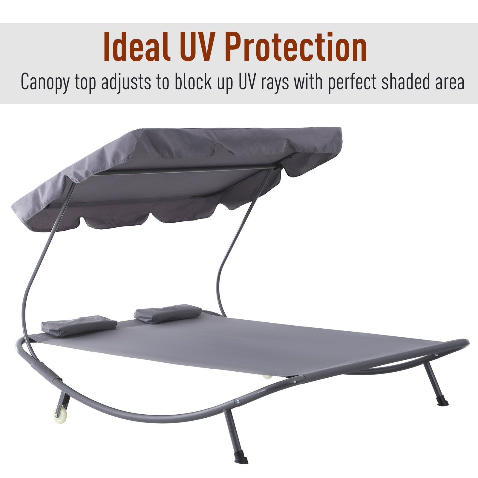 Double Hammock Sun Lounger Bed Shelter Shade Canopy