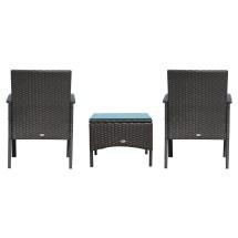 3 Pieces Rattan Set Furniture Garden Cushion Bistro Wicker