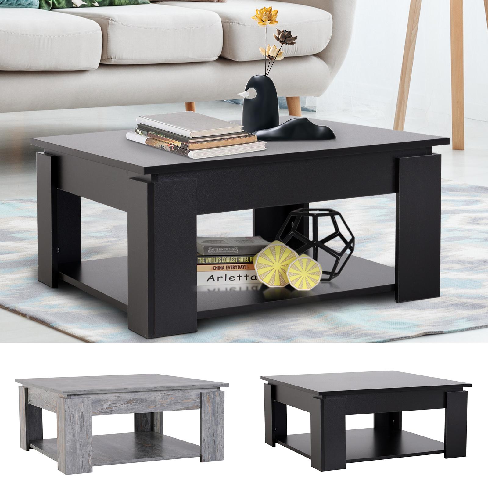 2 tier modern coffee table end table bottom shelf living room ebay