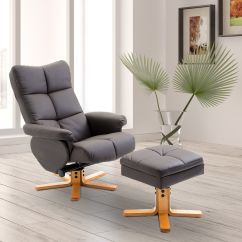 Lounge Chair Living Room Furniture Style Ideas Uk Leather Recliner And Ottoman Set Swivel Details About Brown