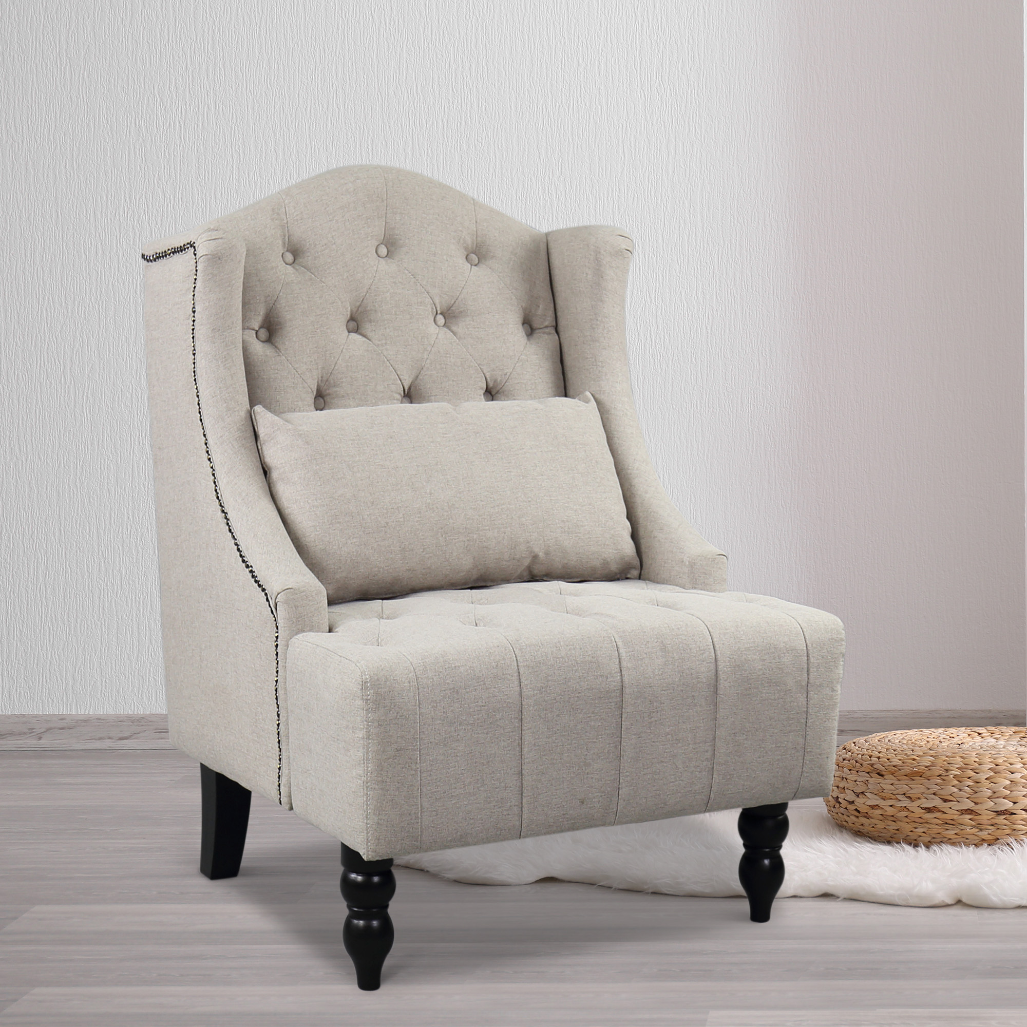 Wingback Tufted Chair Details About Tall Wingback Tufted Chair Accent Club Chair Nailhead Living Room Grey