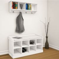 COAT RACK SHOE BENCH HANGER HOOKS STORAGE CABINET W ...