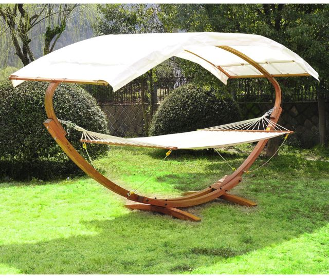 Patio Outdoor Curved Arc Double Hammock Stand Wooden Bed Camping W Canopy