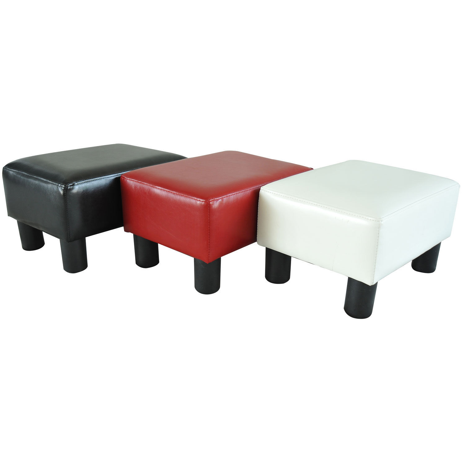 Small Chair With Ottoman Modern Faux Leather Ottoman Footrest Stool Foot Rest Small