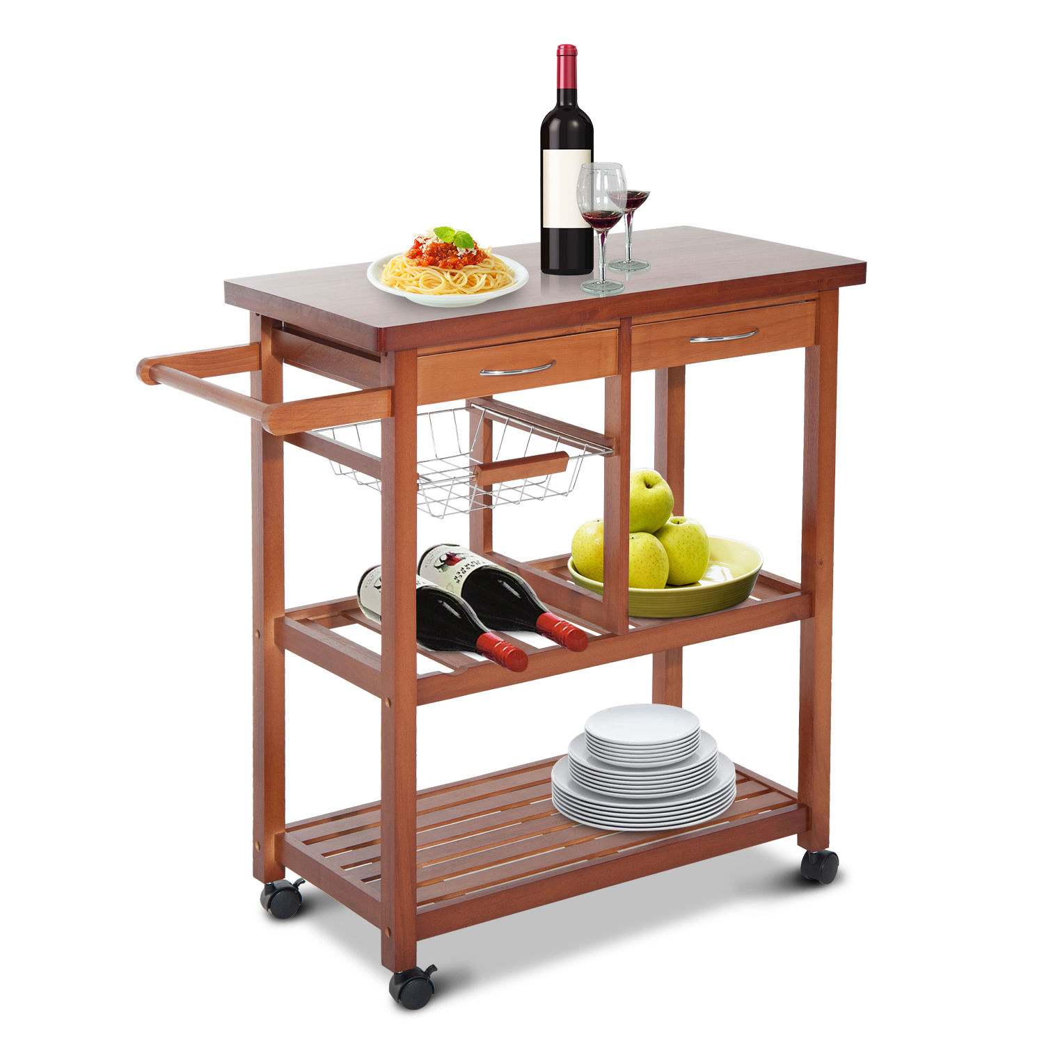 kitchen cart with drawers stainless steel hood wooden rolling island trolley storage shelf w baskets