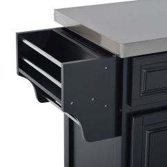 Stainless Steel Kitchen Cart With Drawers Countertop Ideas Island Rolling Cabinet Top W