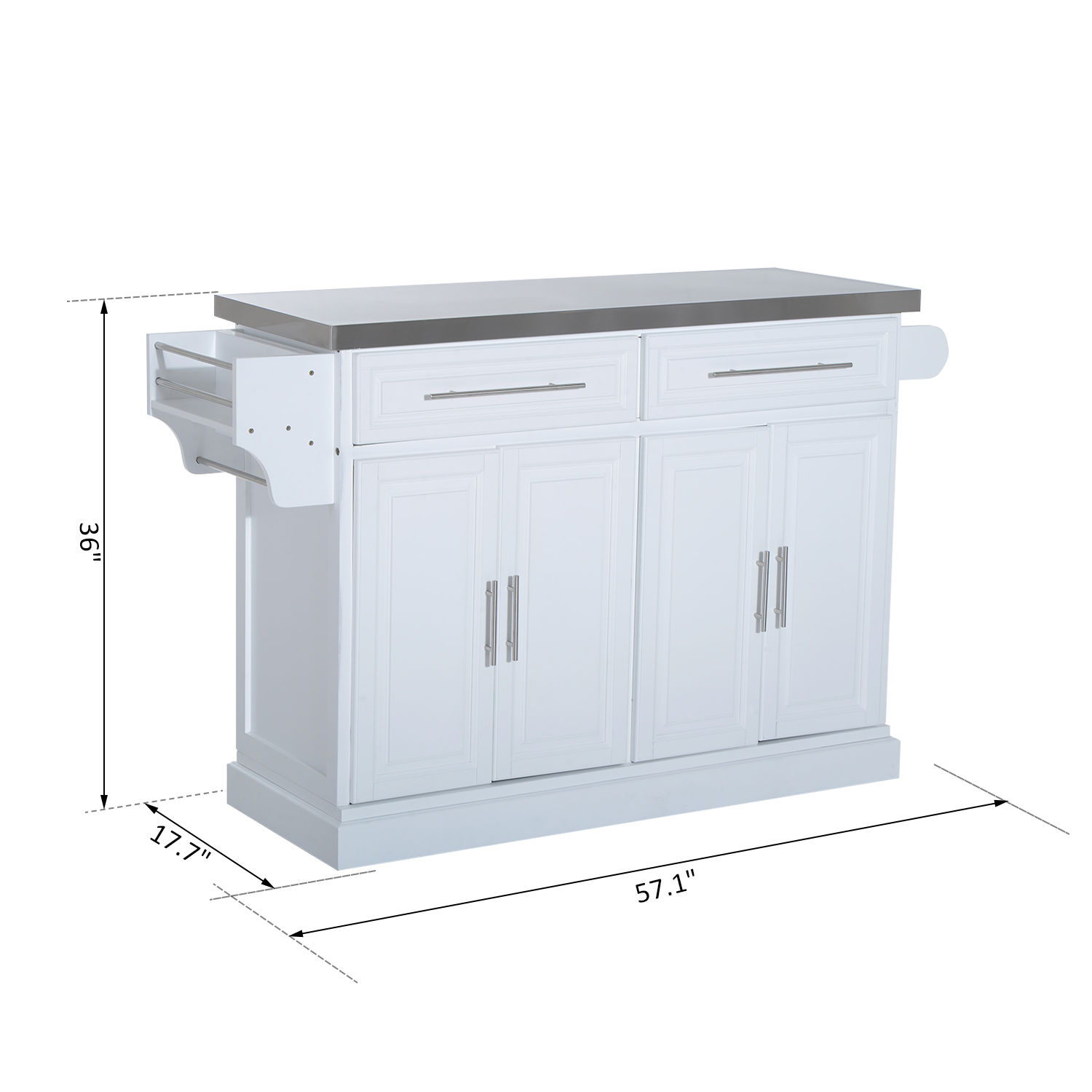 stainless steel kitchen cart with drawers sink replacement island rolling cabinet top w