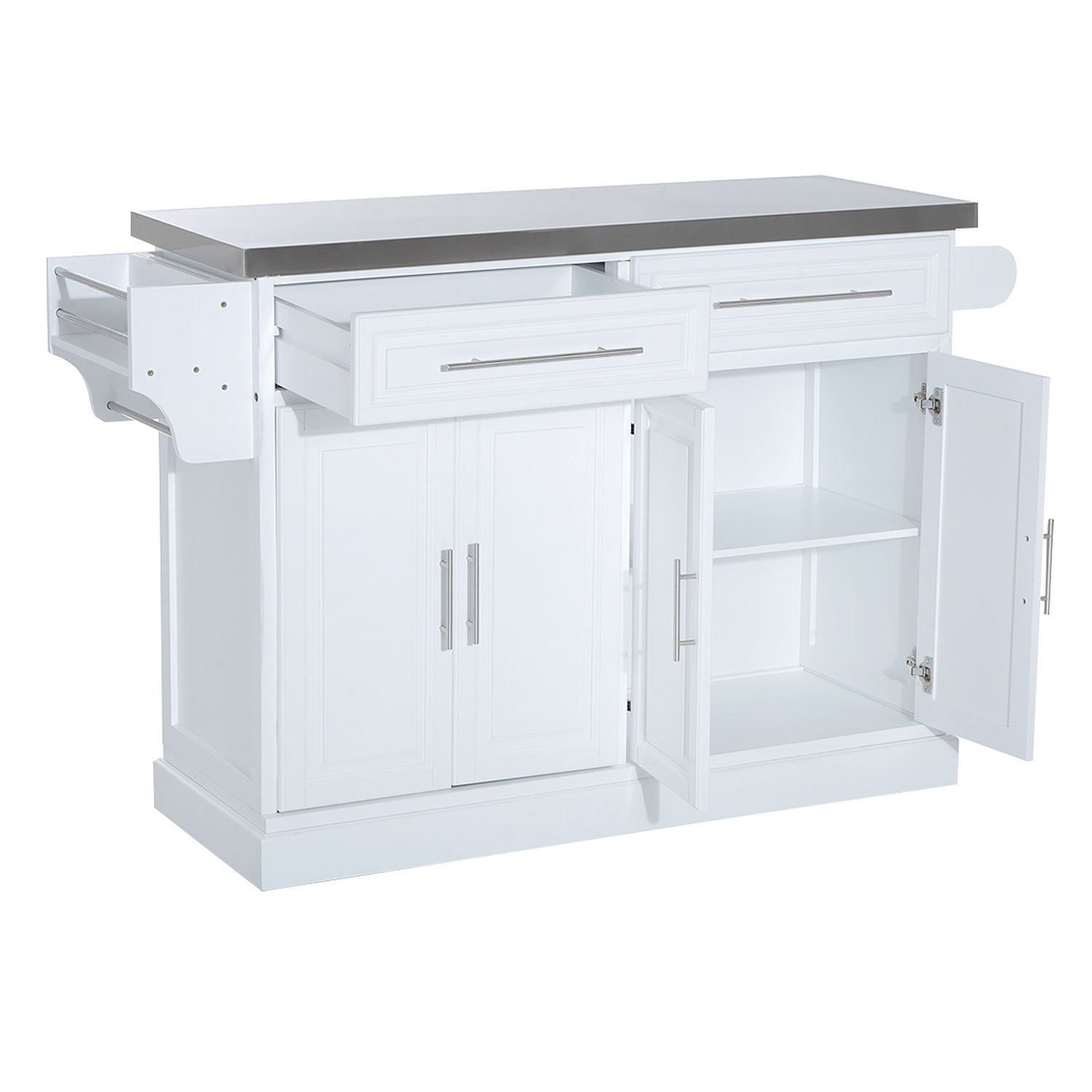 stainless steel kitchen cart with drawers blown glass pendant lighting for island rolling cabinet top w