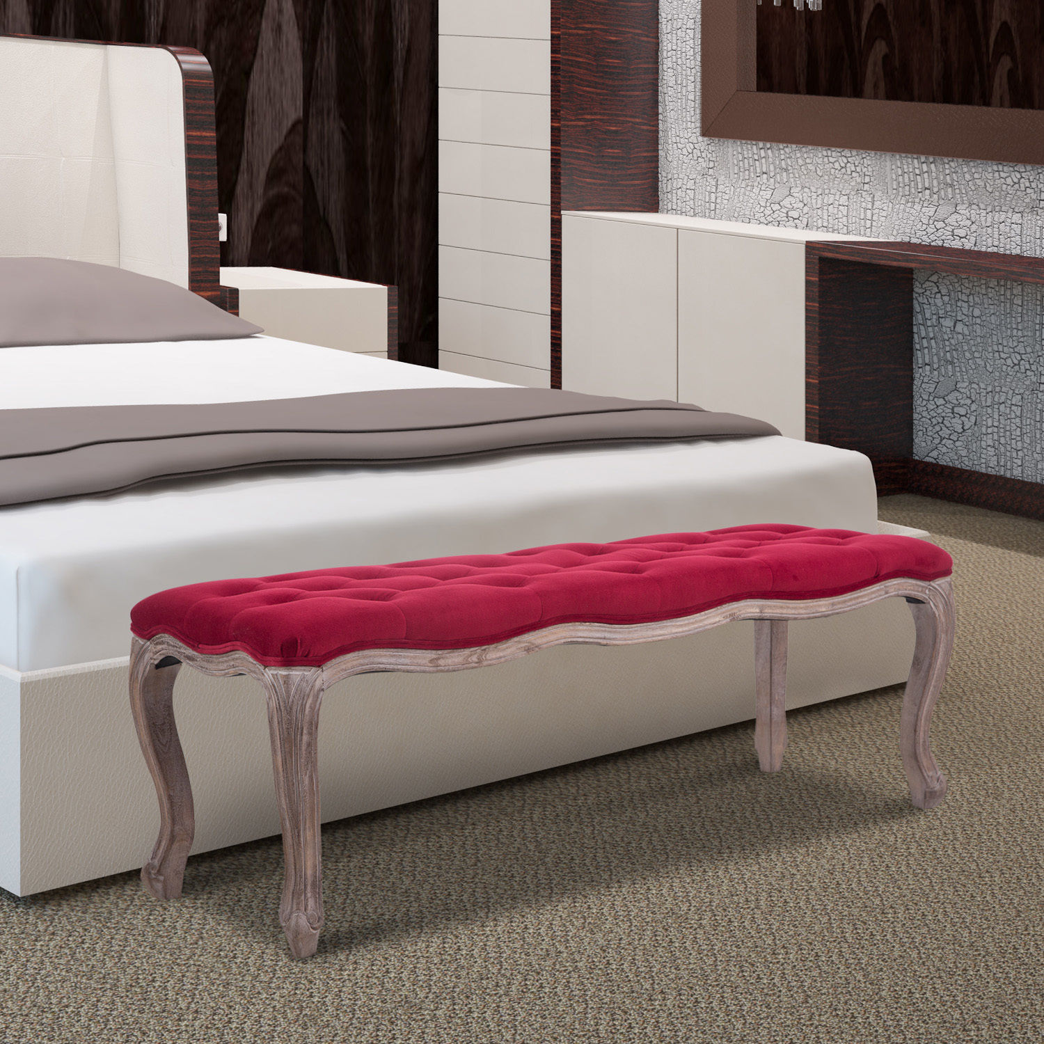 chairs for the end of your bed las vegas office upholstered bench tufted seat ottoman wood