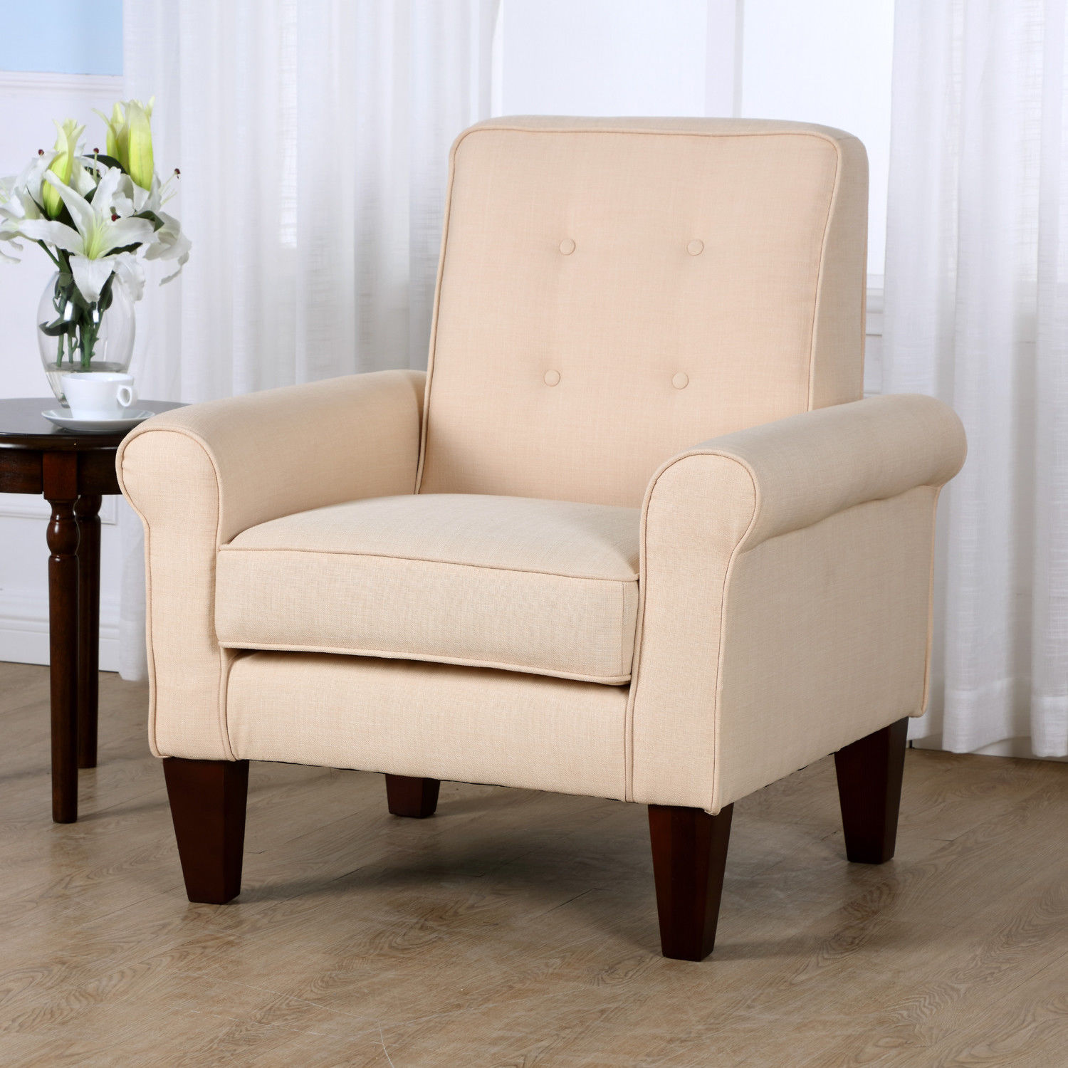 Linen Chair Accent Tufted Back Linen Upholstered Club Chair Armchair