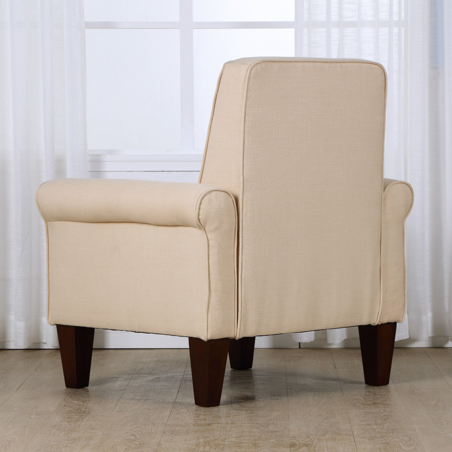 Upholstered Club Chair Accent Tufted Back Linen Upholstered Club Chair Armchair