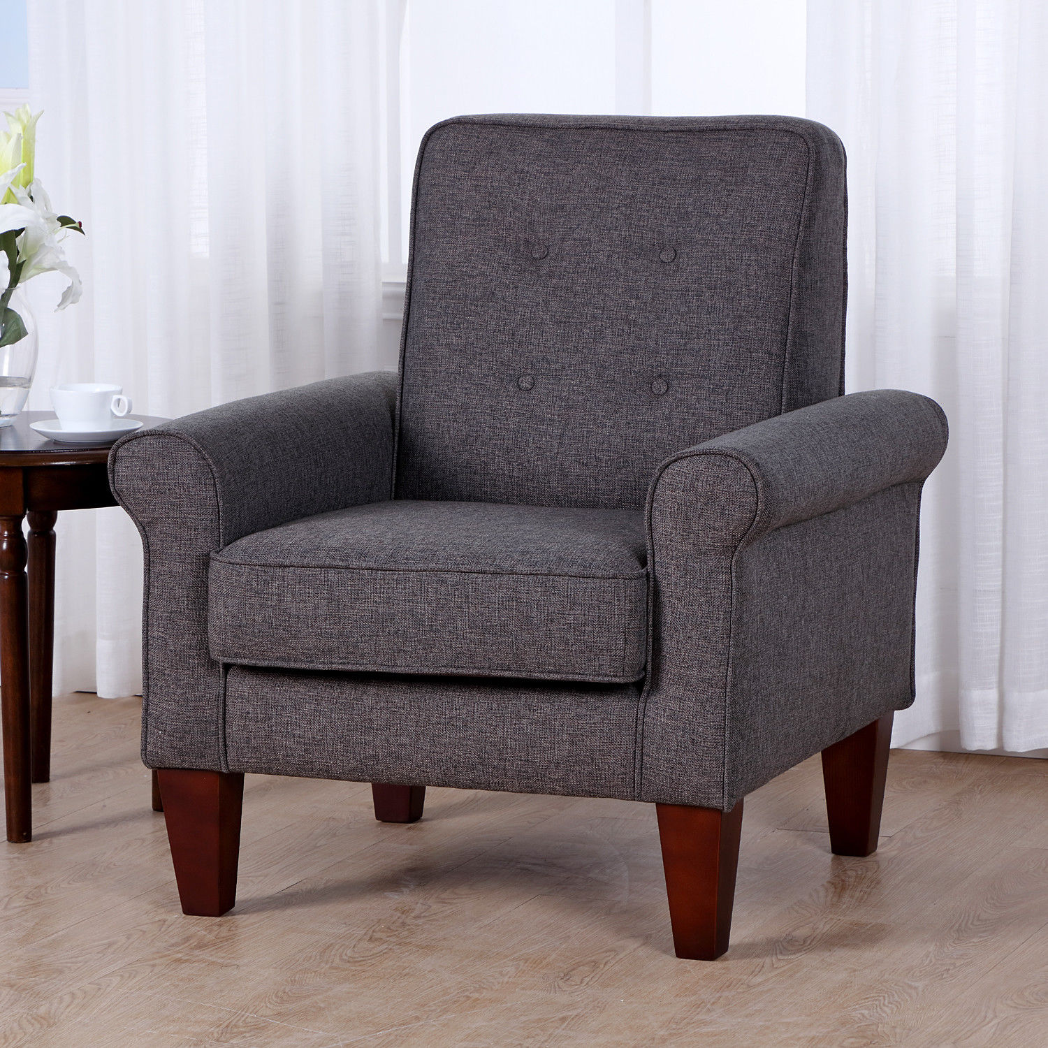 Accent Chairs Modern Accent Tufted Back Linen Upholstered Club Chair Armchair