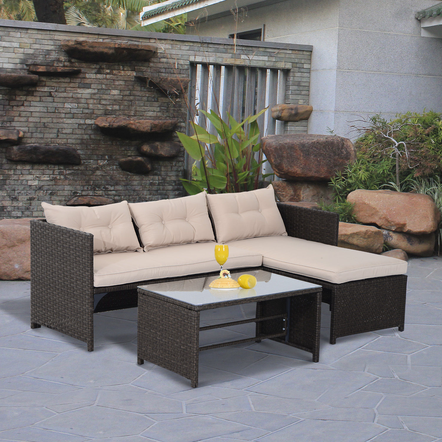 Rattan 3 Piece Sofa Details About 3pc Patio Rattan Wicker Sofa Set Cushined Couch Furniture Outdoor Garden