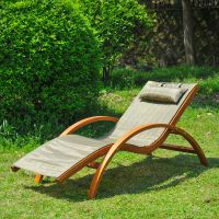 Wooden Patio Chaise Lounge Chair Outdoor Furniture Pool ...