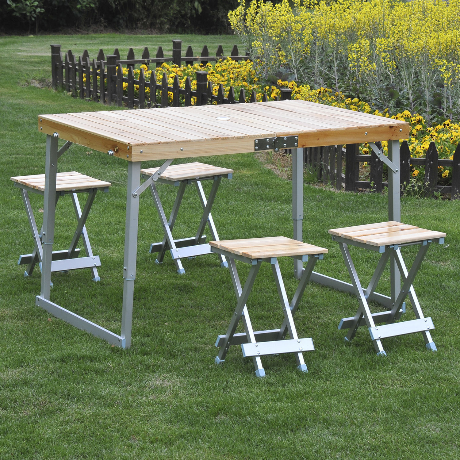 folding chair picnic table waterproof garden covers portable 4 seats chairs camping park outdoor details about wood aluminum