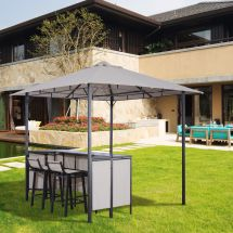 3pc Outdoor Patio Bar Table Set Chairs With Sunshade Canopy