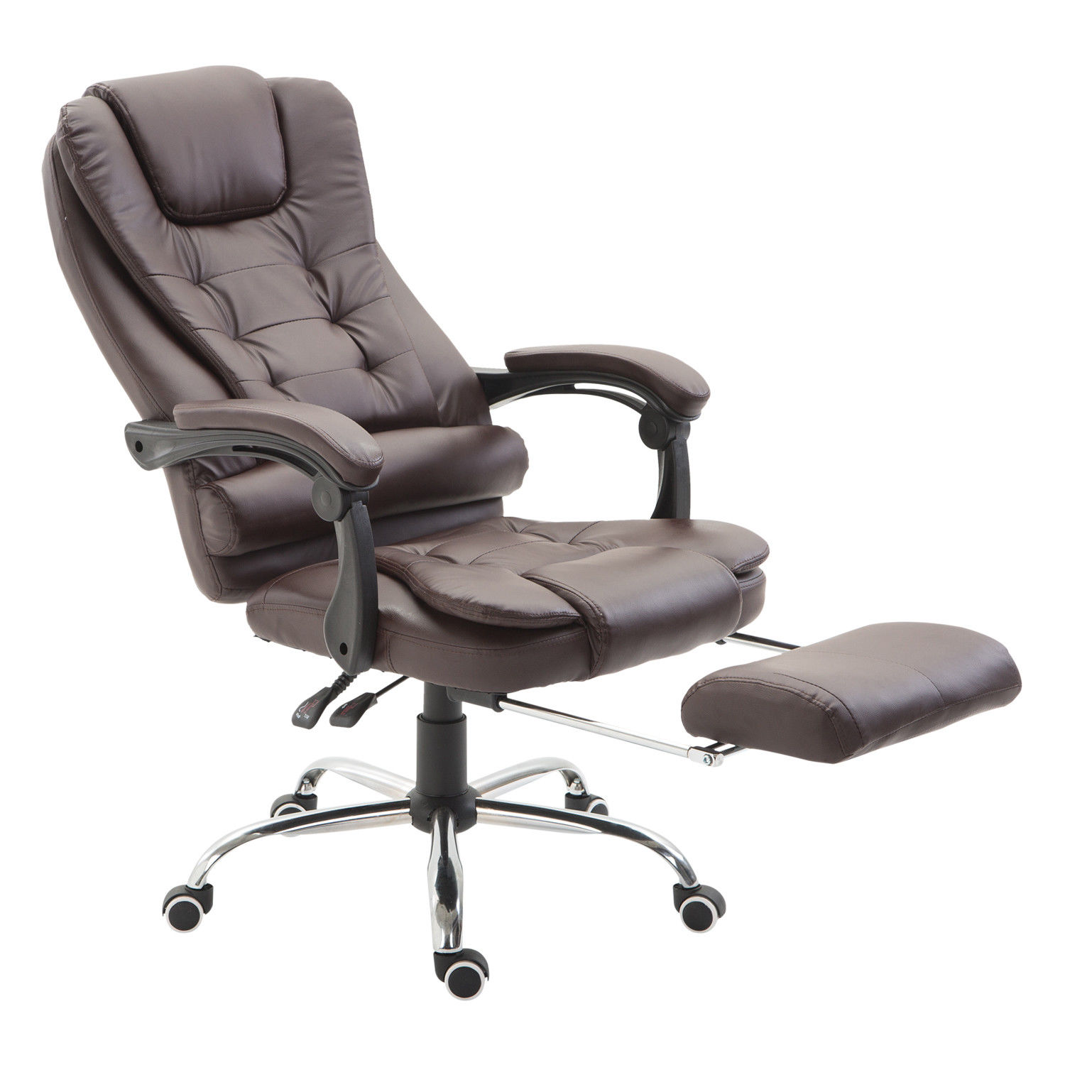 Office Chair Footrest Homcom Executive Style Reclining Office Napping Chair Pu