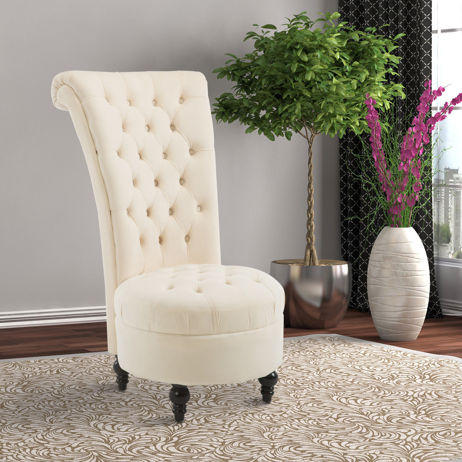 Tufted High Back Chair Details About Homcom 45