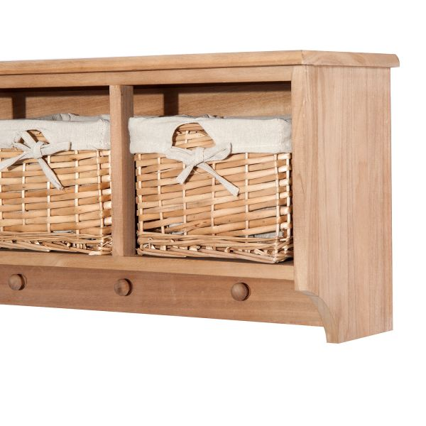 Wall Mounted Coat Hook Storage Unit 2 3 Baskets Organiser Shelf Holder Hallway