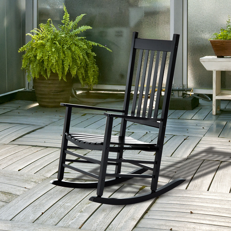 Porch Rocking Chair Outdoor Patio Wooden Rocking Chair Black 712190178215 Ebay