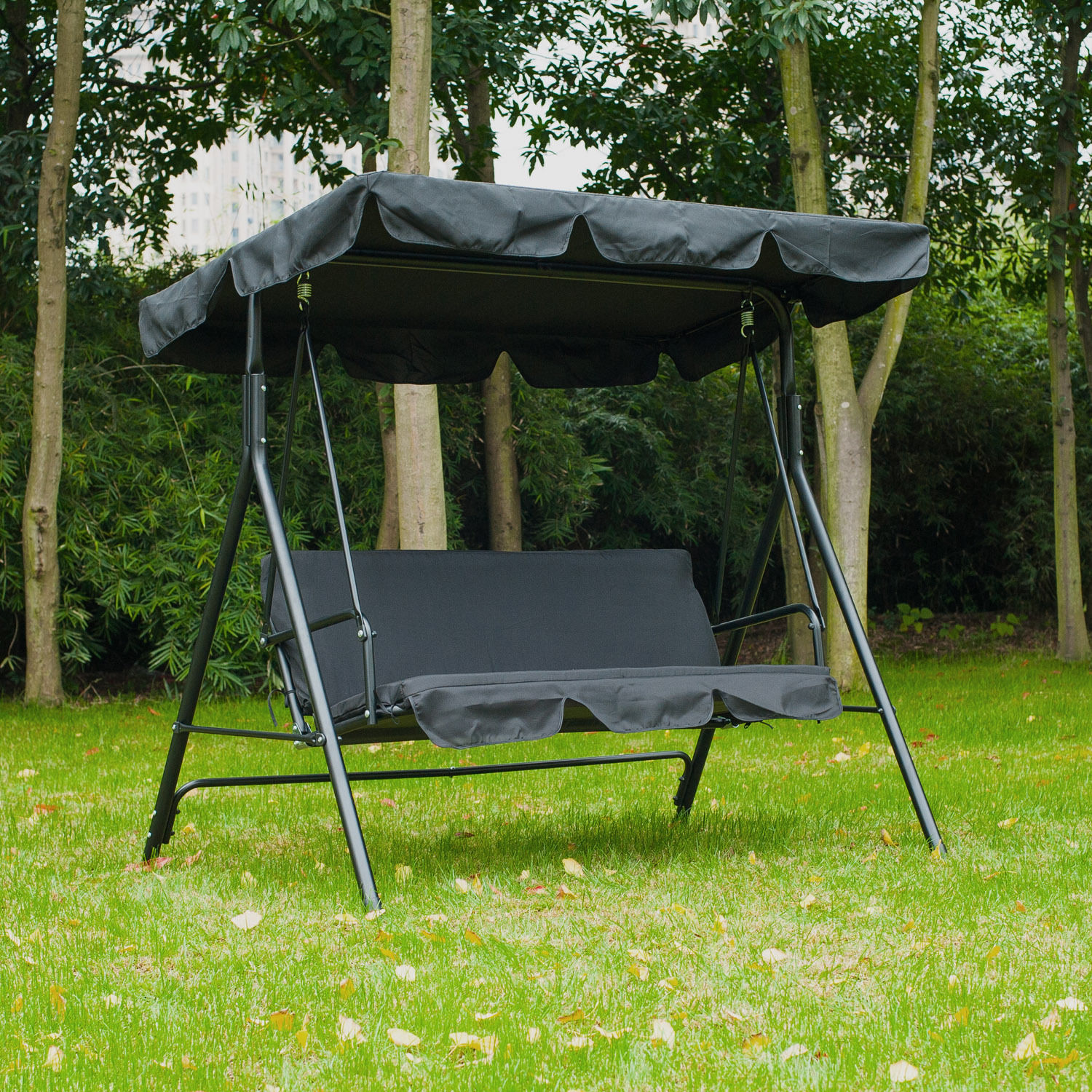 Outdoor Chair With Canopy Metal 3 Seater Outdoor Swing Chair Lounger With Frame And