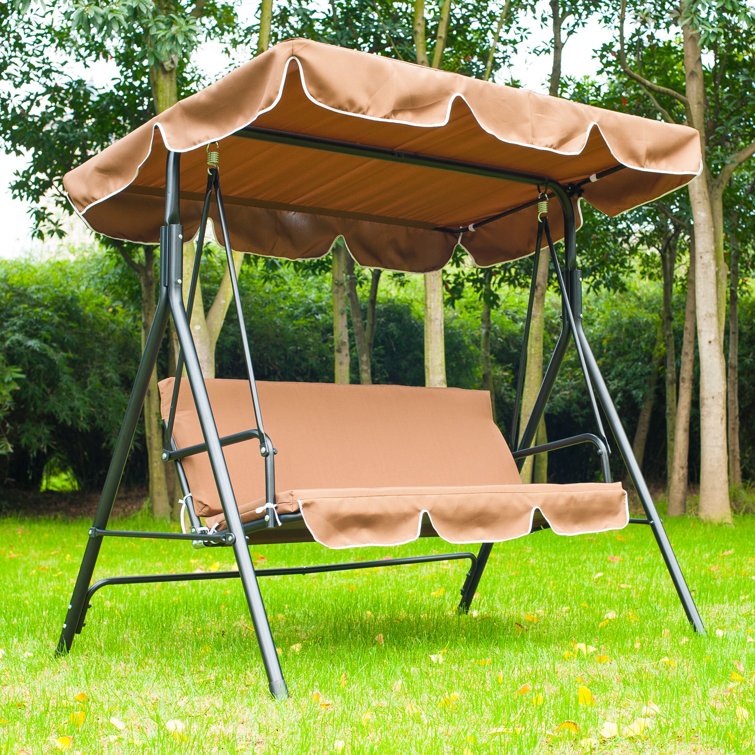 Metal 3 Seater Outdoor Swing Chair Lounger With Frame And