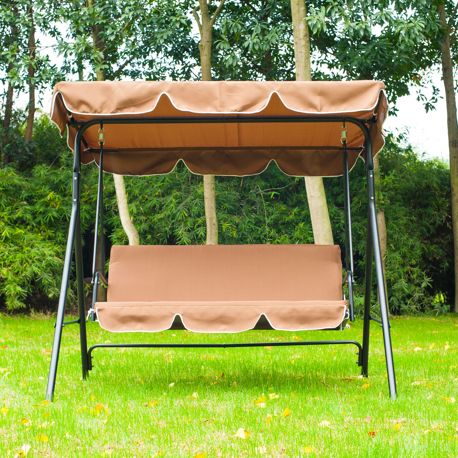 swing chair steel lifts for homes metal 3 seater outdoor lounger with frame and