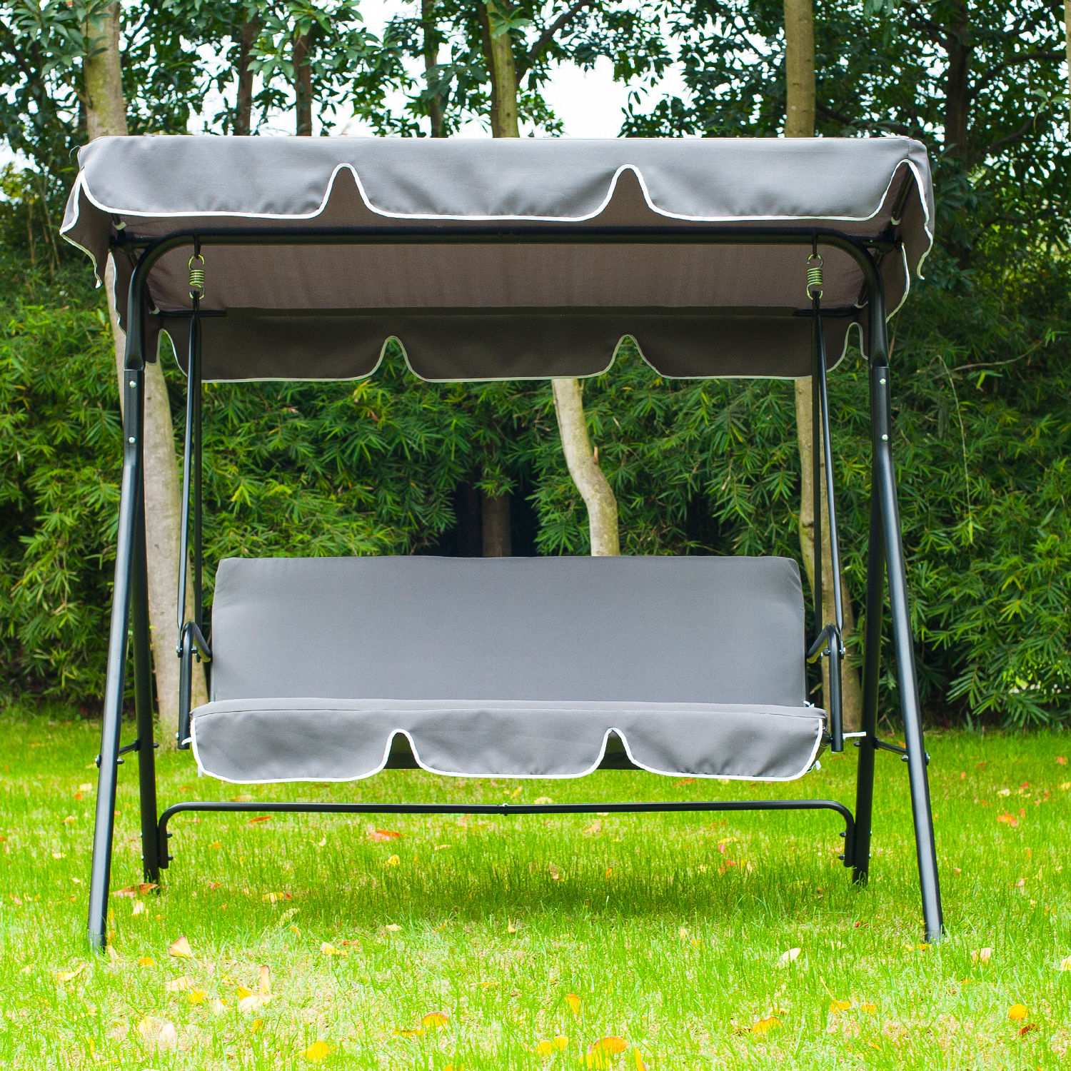 swing chair steel brown leather tub homebase metal 3 seater outdoor lounger with frame and