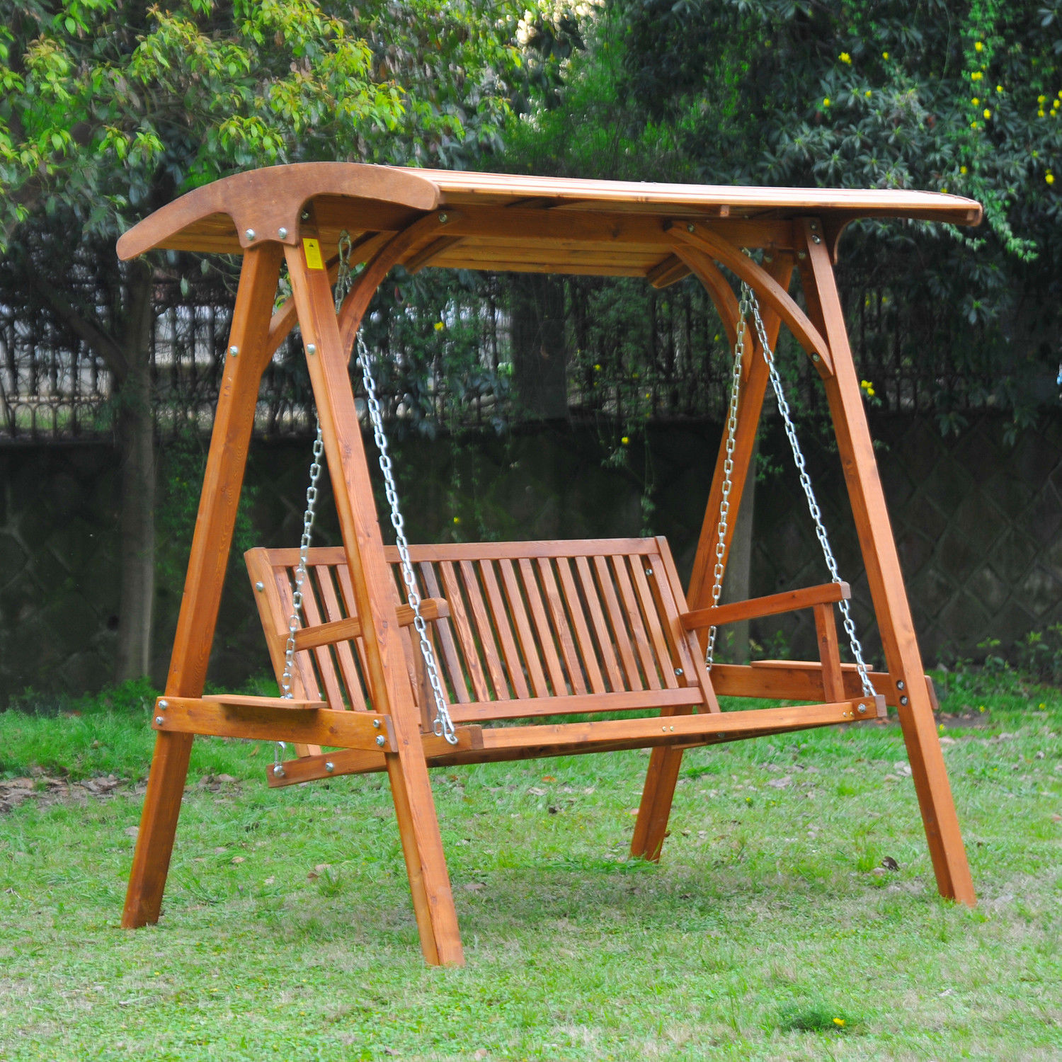 Patio Swing Chair Outsunny Wooden Garden Swing Chair Seat Hammock Bench