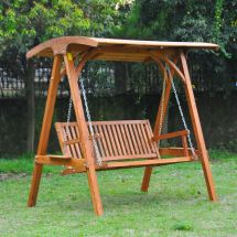Outsunny Wooden Garden Swing Chair Seat Hammock Bench