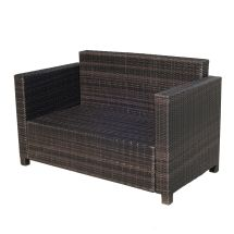 Outsunny 2 Seater Rattan Sofa Outdoor Garden Wicker Weave
