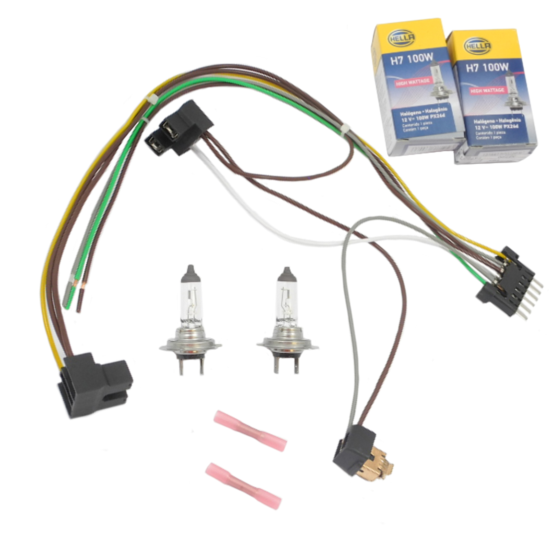 hight resolution of details about for s55 s600 benz headlight wiring harness h7 100w headlight bulb left right