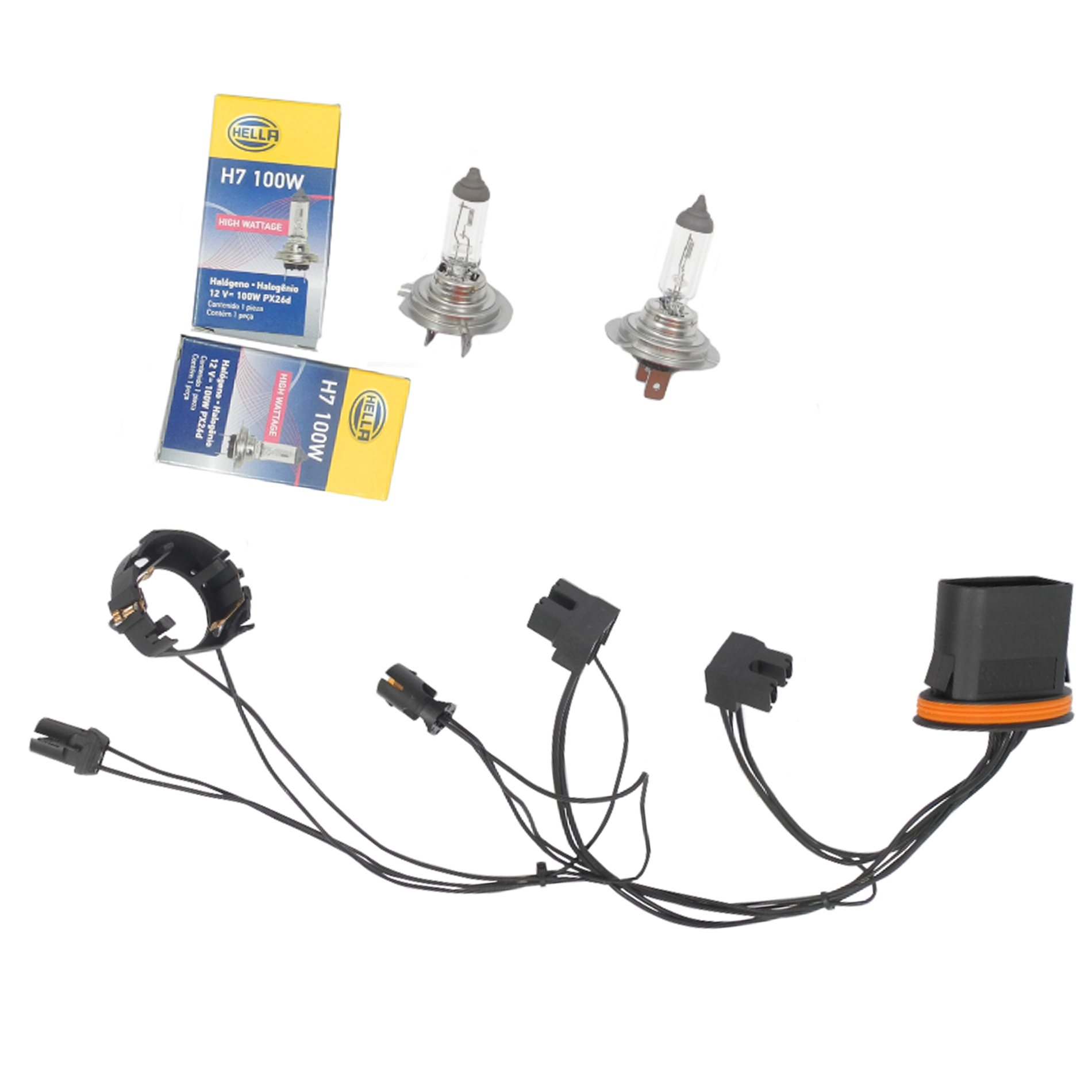 hight resolution of for benz c230 c250 left right headlight wiring harness headlight bulb h7 100w