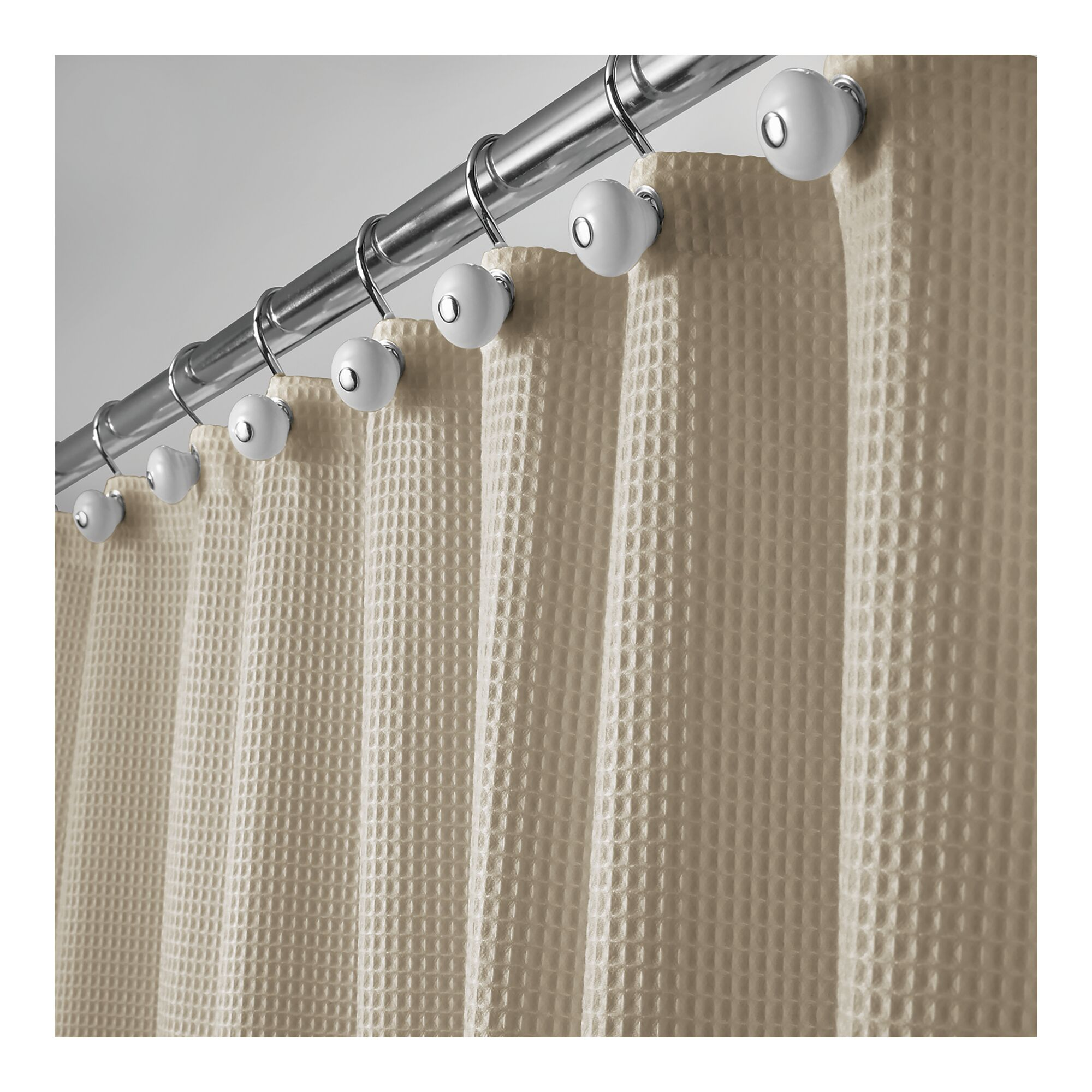 Details About Mdesign Extra Long Waffle Weave Fabric Shower Curtain 72 X 96
