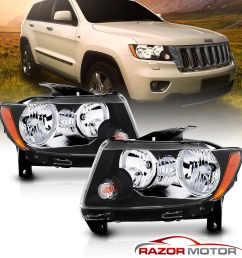 black headlights replacement for 2011 2012 2013 jeep grand cherokee factory type [ 1500 x 1500 Pixel ]