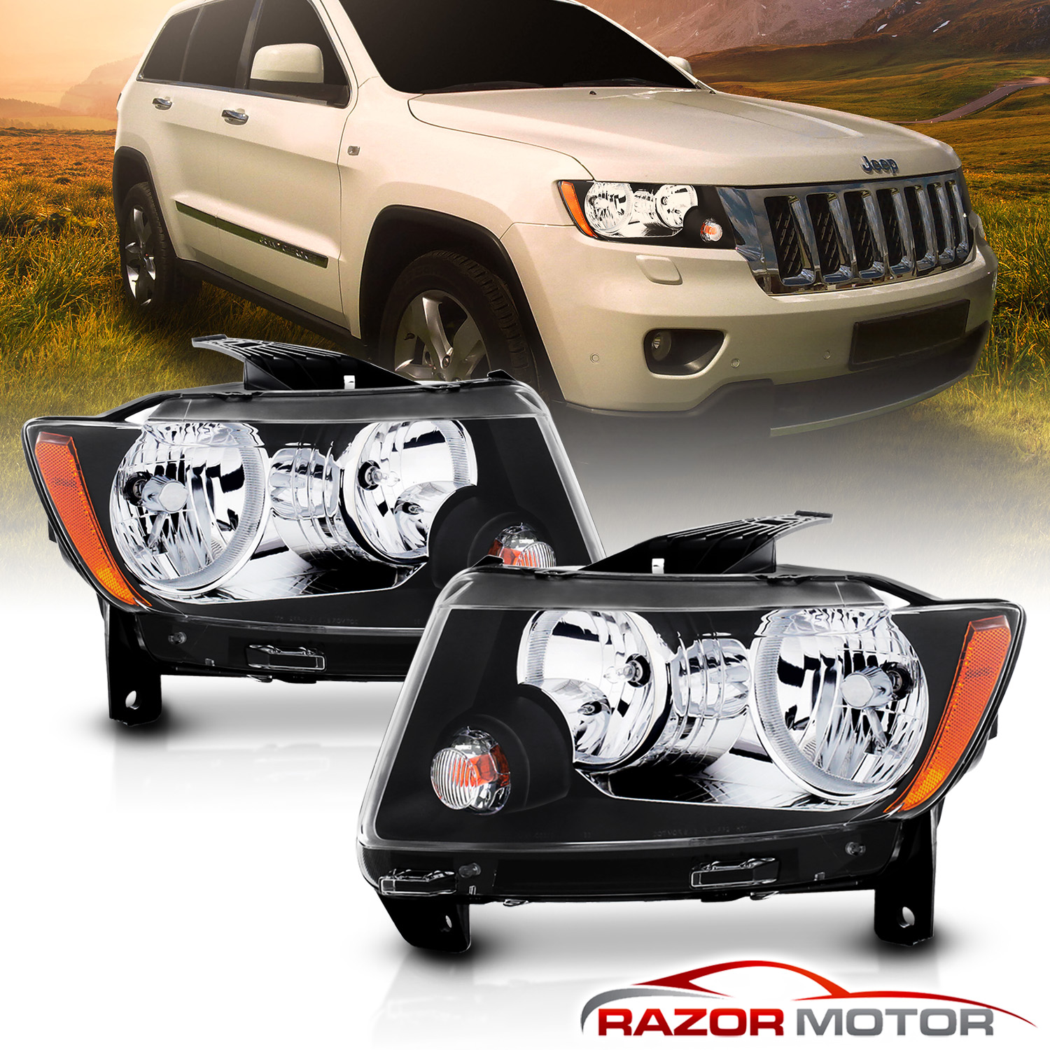 hight resolution of black headlights replacement for 2011 2012 2013 jeep grand cherokee factory type