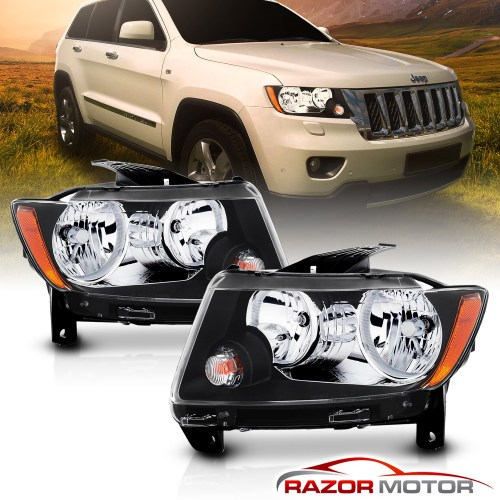 small resolution of black headlights replacement for 2011 2012 2013 jeep grand cherokee factory type