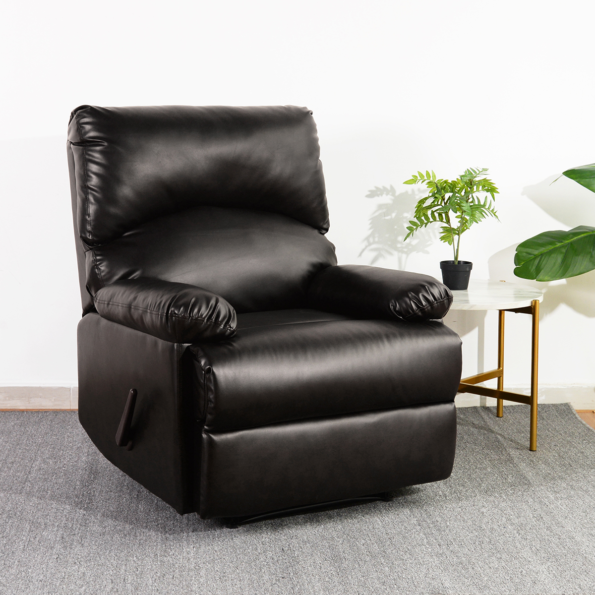 Details About Modern Leather Recliner Chair Manual Single Couch Heavy Duty Sofa Lounge