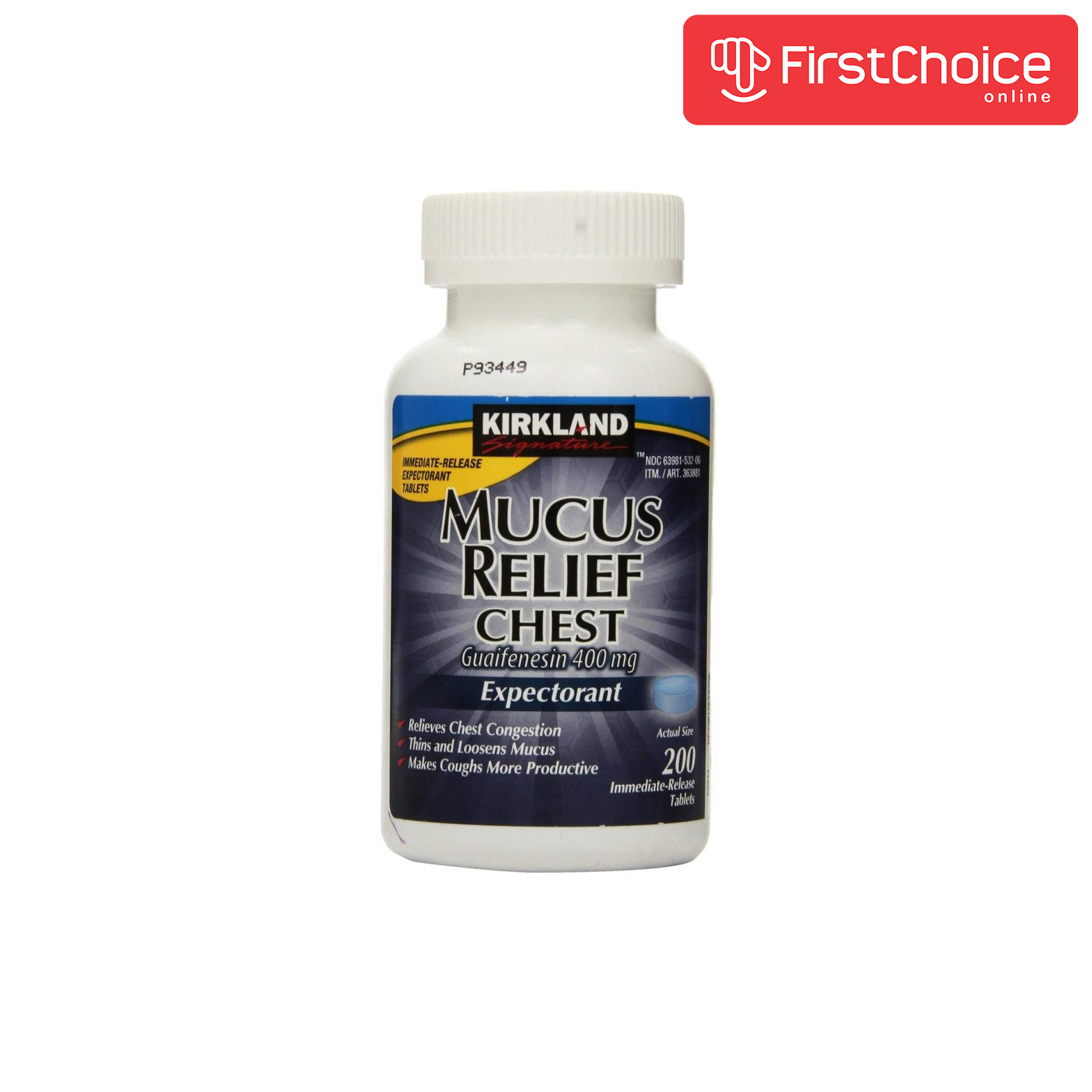 Kirkland Mucus Relief 400 mg Guaifenesin Relieves Chest ...