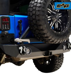 07 18 jeep wrangler jk led rear bumper off road with tire carrier and d ring [ 1500 x 1500 Pixel ]