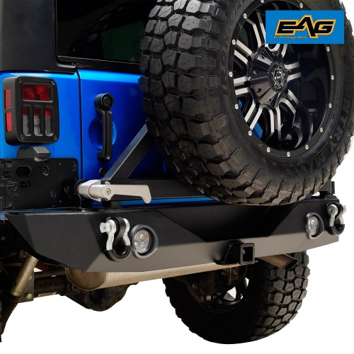 small resolution of 07 18 jeep wrangler jk led rear bumper off road with tire carrier and d ring