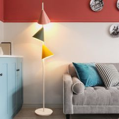 Standing Lights For Living Room Canvas Wall Pictures Macarons Metal 3 Cone Shades Floor Lamps Lighting