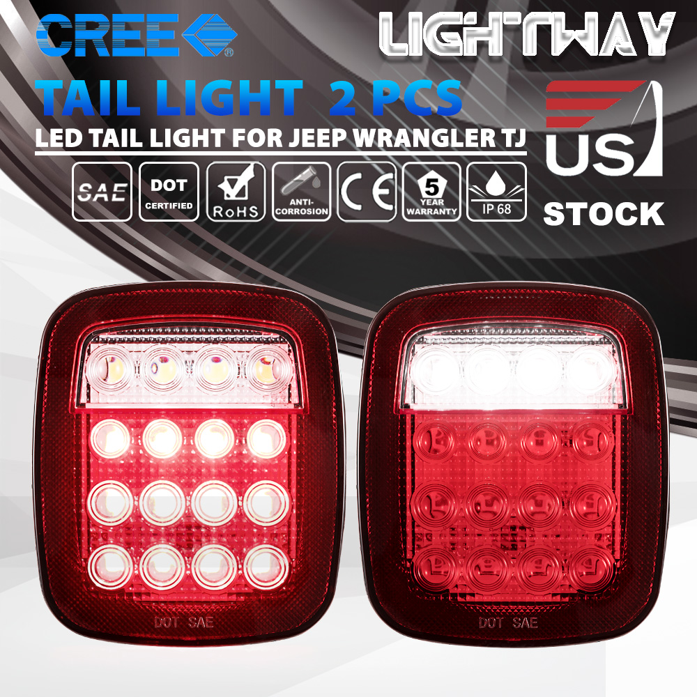 medium resolution of details about led tail lights rear brake lamps turn stop reverse for jeep wrangler tj cj 76 06